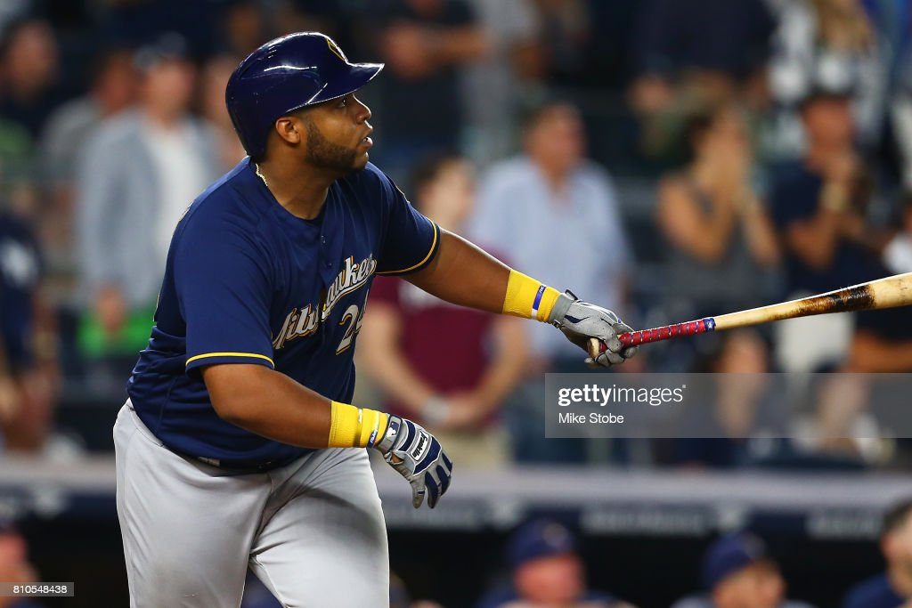 Jesus Aguilar #24 of the Milwaukee Brewers hits a grand slam in the seventh inning against the New York Yankees at Yankee Stadium on July 7, 2017 in the Bronx borough of New York City.
