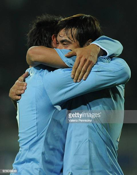 Jesus Alberto Datolo of SSC Napoli celebrate his goal with Ezequiel Ivan Lavezzi during the Serie A match between Juventus FC and SSC Napoli at...