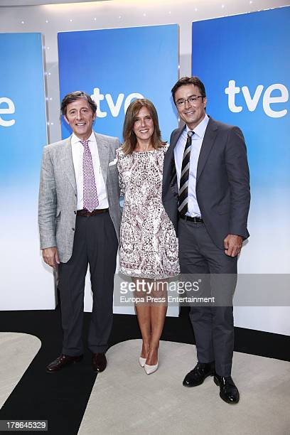 Jesus Alvarez Ana Blanco and Marcos Lopez attend the presentation of the new season of Spanish channel 'TVE News' on August 29 2013 in Madrid Spain