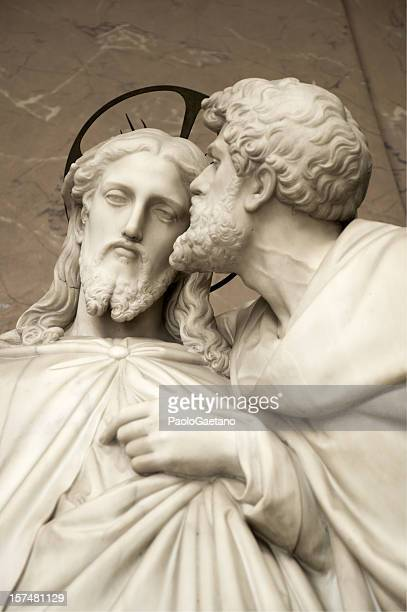 jesus and judas - the betrayal - judas iscariot stock pictures, royalty-free photos & images