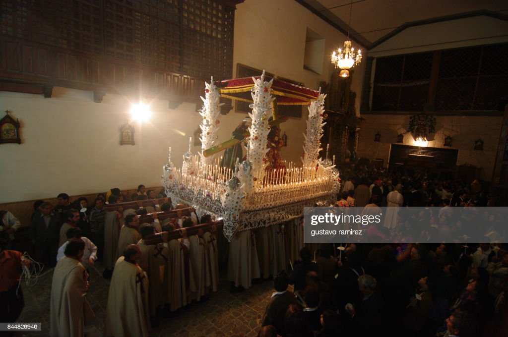 Jesus and mary procession in Ayacucho city : Stock Photo