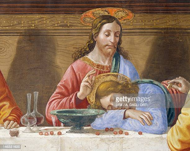 Jesus and St John detail from The Last Supper by Domenico Ghirlandaio fresco Refectory of St Mark's Convent Florence