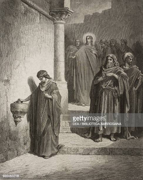 Jesus and the apostles look at the widow giving her small gift at the temple engraving by Gustave Dore from The Holy Scriptures containing the Old...