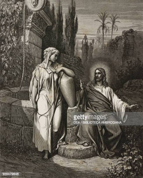 Jesus and the Samaritan woman engraving by Gustave Dore from The Holy Scriptures containing the Old and New Testaments Translated from The Latin...