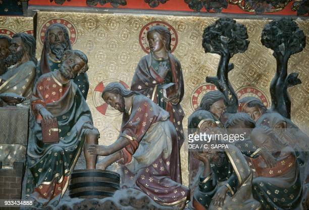 Jesus and the washing of the feet basrelief in the choir with stories from the life of Christ by Jean Ravy NotreDame cathedral Paris France