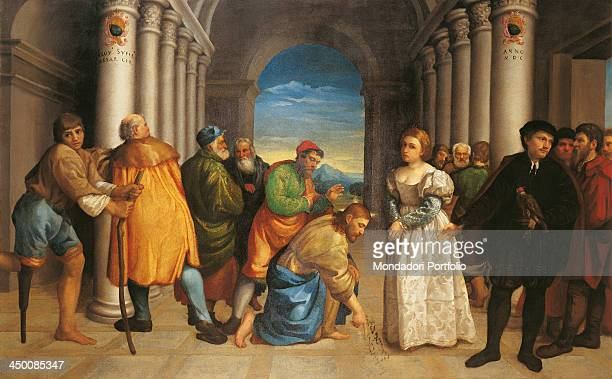 Jesus and the woman taken in adultery by Jacopo da Ponte known as Bassano 16th Century oil on canvas 141 x 225 cm