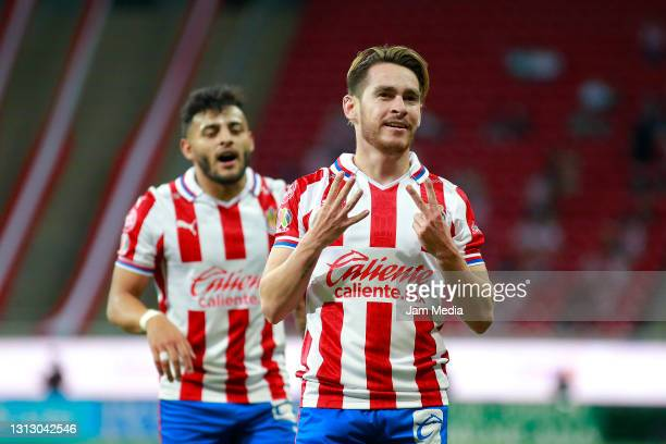 Jesus Angulo of Chivas celebrates after scoring his team's second goal during the 15th round match between Chivas and Tijuana as part of the Torneo...