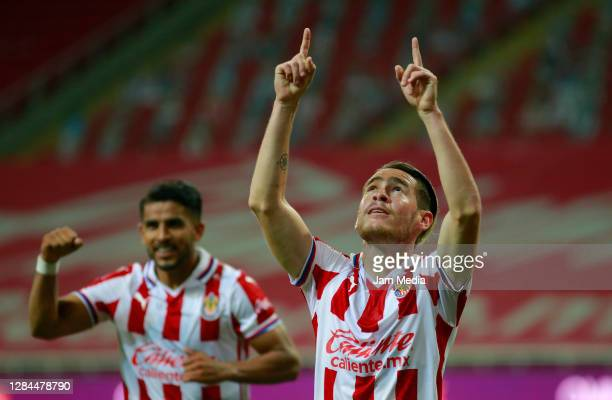 Jesus Angulo of Chivas celebrates after scoring the third goal of his team during the 17th round match between Chivas and Monterrey as part of the...