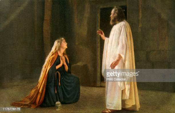 Jesus appears to Mary Magdalene, 1922. Mary Magdalene kneels before Jesus : players in the Oberammergau Passion Play. The play is performed every 10...
