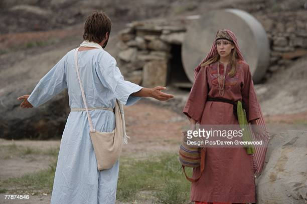 jesus appears to mary - death and resurrection of jesus stock photos and pictures