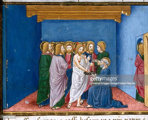 Jesus appears to the disciples, Codex of Predis , Royal Library, Turin, Italy.