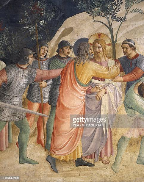 Jesus' arrest and Judas' kiss, 1437-1445, by Giovanni da Fiesole, known as Fra Angelico , fresco. Detail. Cells of the first floor, Convent of St...
