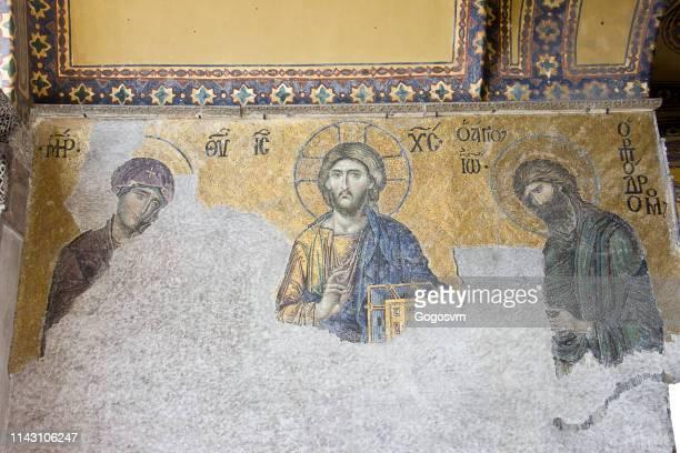 jesus art hagia sophia - fresco stock pictures, royalty-free photos & images