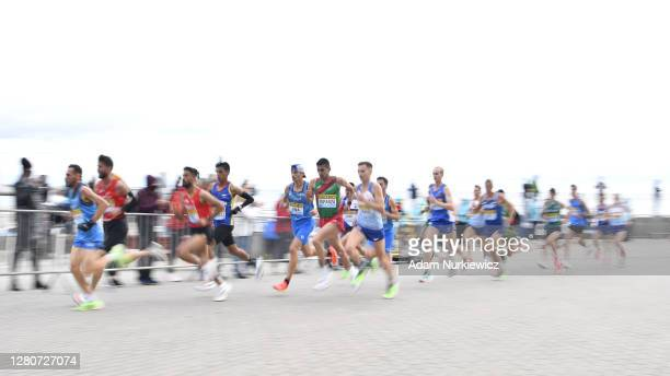 Jesus Arturo Esparza of Mexico competes in the men's final run during the World Athletics Half Marathon Championships on October 17, 2020 in Gdynia,...