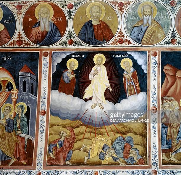 Jesus' ascension into heaven frescoed vault with scenes from the life of Jesus Mikro Sotiris monastery Symi island Greece