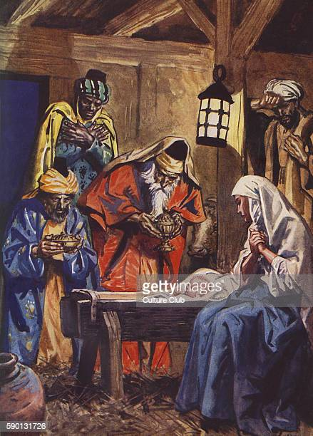 Jesus' birth in Bethlehem with the three wise Kings and Mary and Joseph Caption 'Saying Where is he that is born King of the Jews for we have seen...