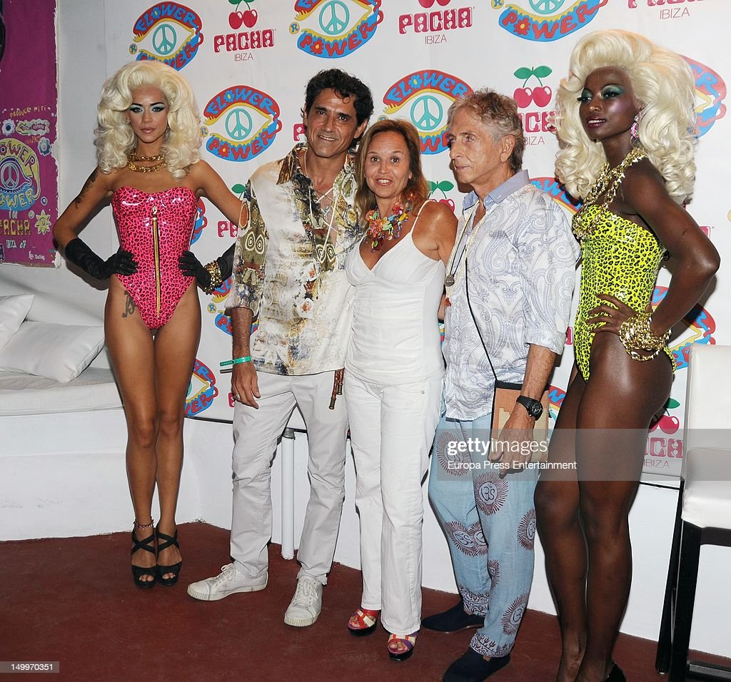 Jesus Cabanas (2L) attends 'Flower Power' Party 2012 at Pacha Club on August 7, 2012 in Ibiza, Spain.