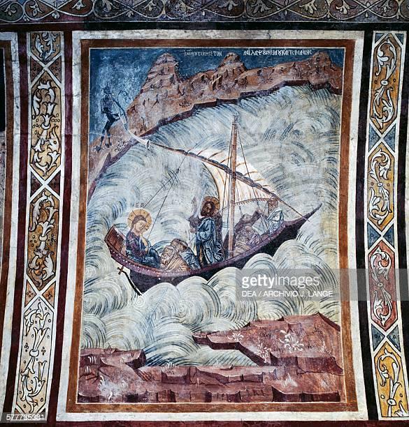 Jesus calming the storm, fresco on the vault of the church of Thari monastery, Rhodes island. Greece, 11th-14th century.