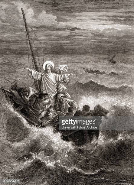 Jesus calming the storm on the Sea of Galilee. From The Gospels, New Testament. From The Children's Bible, published c. 1883