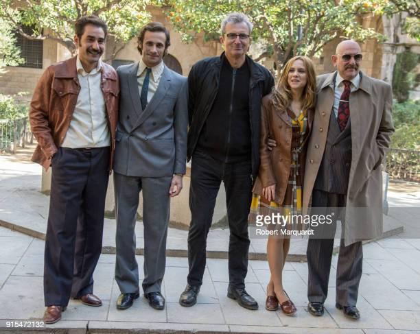 Jesus Carroza Oriol Pla Director Mariano Barroso Aura Garrido and Karra Elejalde pose on the set of their latest series 'El Dia de Manana' on...