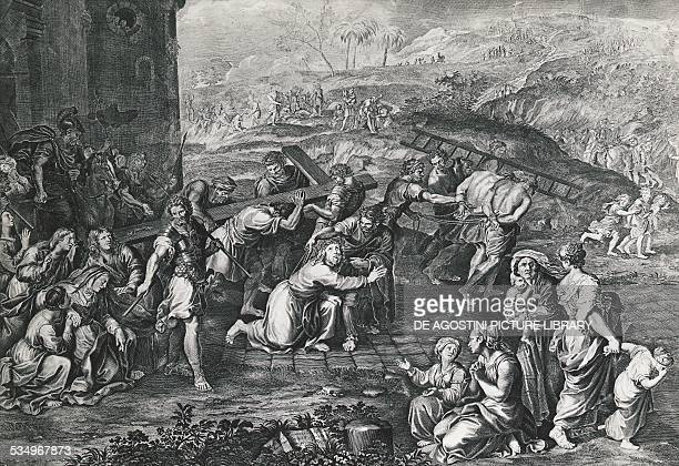 Jesus carrying the cross by Gerard Audran engraving France 17th century