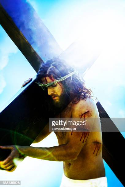 Jesus carrying the cross.