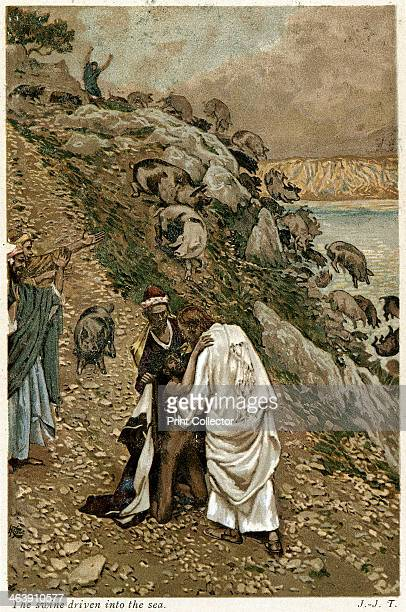 Jesus casting devils out of a kneeling man c1890 After the devils have been cast out Christ puts them into Gaderine Swine who plunge over the cliff...