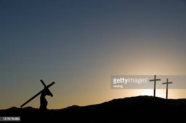 jesus christ carrying the cross on  good friday - good friday stock pictures, royalty-free photos & images