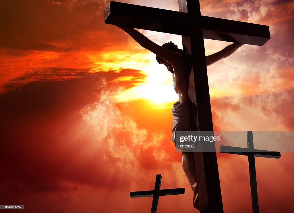Jesus Christ crucified on the cross : Stock Photo