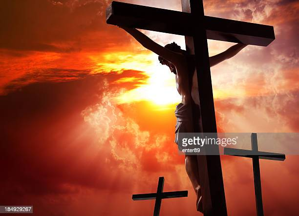 jesus christ crucified on the cross - good friday stock pictures, royalty-free photos & images