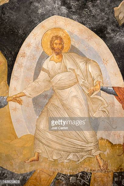 jesus christ fresco in istanbul - chora church - byzantine stock photos and pictures