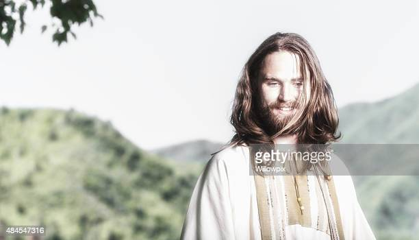 jesus christ high key smile - smiling jesus stock pictures, royalty-free photos & images