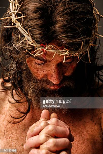 jesus christ in prayer - jesus blood stock pictures, royalty-free photos & images
