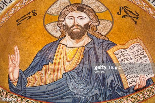 Jesus Christ mosaic in the apse Cappella Palatina Palazzo dei Normanni Palermo Sicily Italy