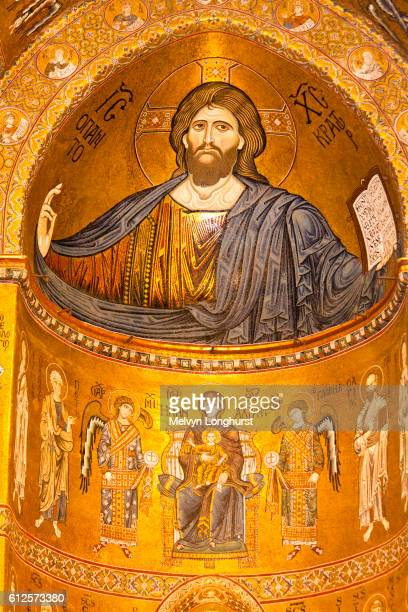 Jesus Christ mosaic in the apse, Monreale Cathedral, Monreale, near Palermo, Sicily, Italy