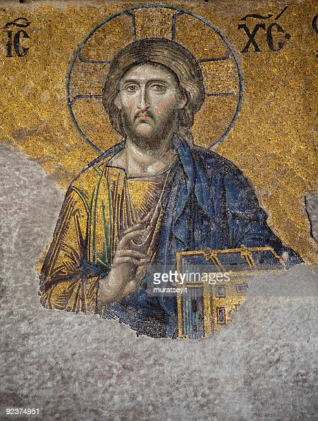 jesus christ mosaic - byzantine stock pictures, royalty-free photos & images