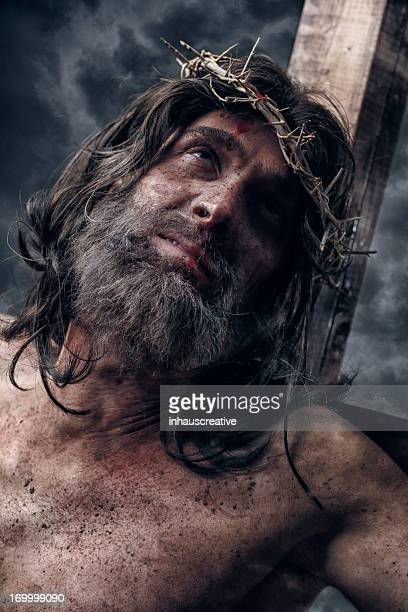 jesus christ on cross - jesus blood stock pictures, royalty-free photos & images
