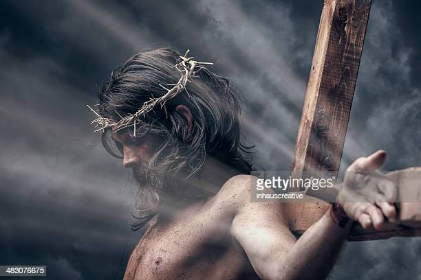 jesus christ on the cross - jesus blood stock pictures, royalty-free photos & images