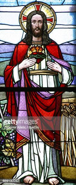Jesus Christ Painting On Stained Glass Window In Church