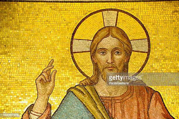 jesus christ - mosaic stock photos and pictures