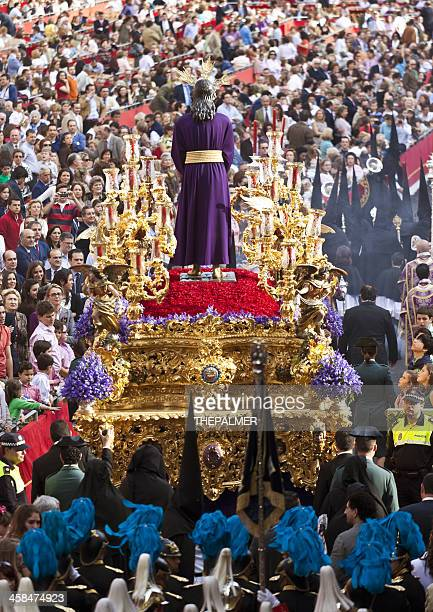 Jesus Christ religious parade during Holy Monday in Sevilla