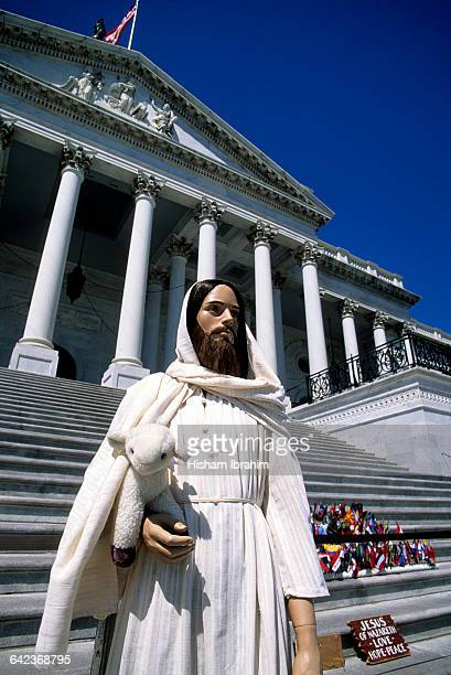 Jesus Christ Statue and US Capitol Building, DC