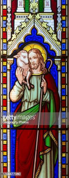 Jesus Christ the Good Shepherd stained glass window circa 1846 thought to be by Wailes church of Saint James Stert Wiltshire England UK