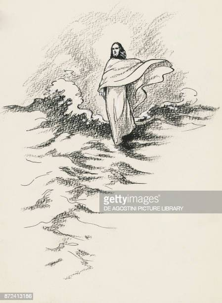 Jesus Christ walking on the water episode from the Gospel drawing
