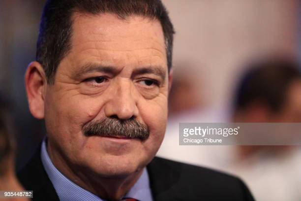Jesus 'Chuy' Garcia Democratic candidate in the 4th Congressional chats with citizens before a forum at Mi Tierra Restaurant in Chicago on January 30...