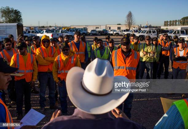 Jesus 'Chuy' Medrano owner of CoCal Landscape gives a safety orientation to new workers many of whom arrived days earlier from Mexico in Denver CO on...