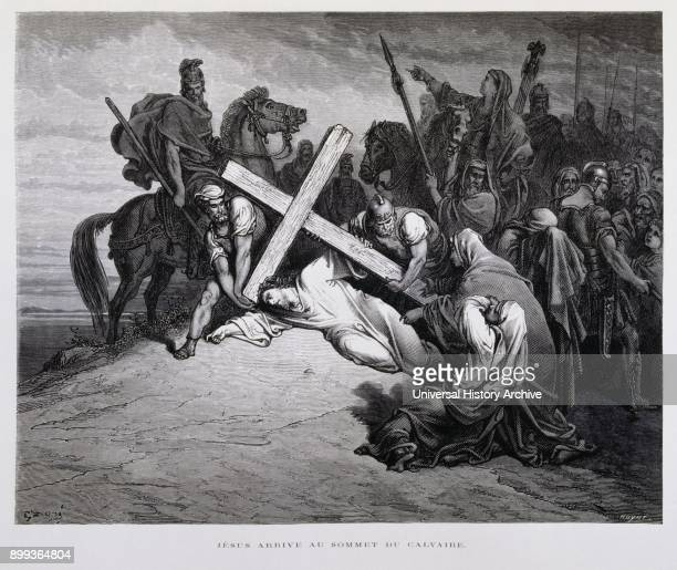 Jesus collapsing at Calvary under the weight of carrying the cross to the site of his crucifixion Illustration from the Dore Bible 1866 In 1866 the...