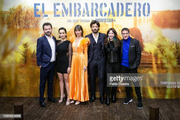 Jesus Colmenar Veronica Sanchez Irene Arco Alvaro Morte Esther Martínez Lobato and Alex Pina attend the 'El Embarcadero' premiere at Callao Cinema on...