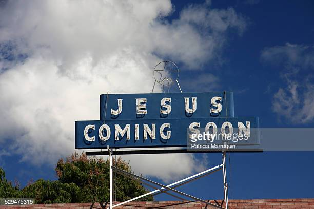 'Jesus Coming Soon' neon sign at the Apostolic Faith Church in Lahaina Maui Hawaii