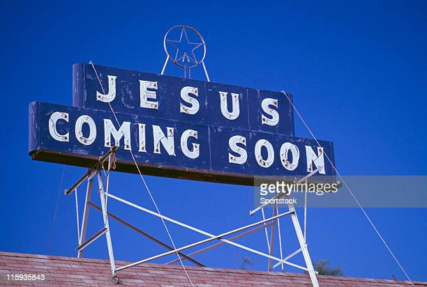 jesus coming soon sign - christendom stockfoto's en -beelden
